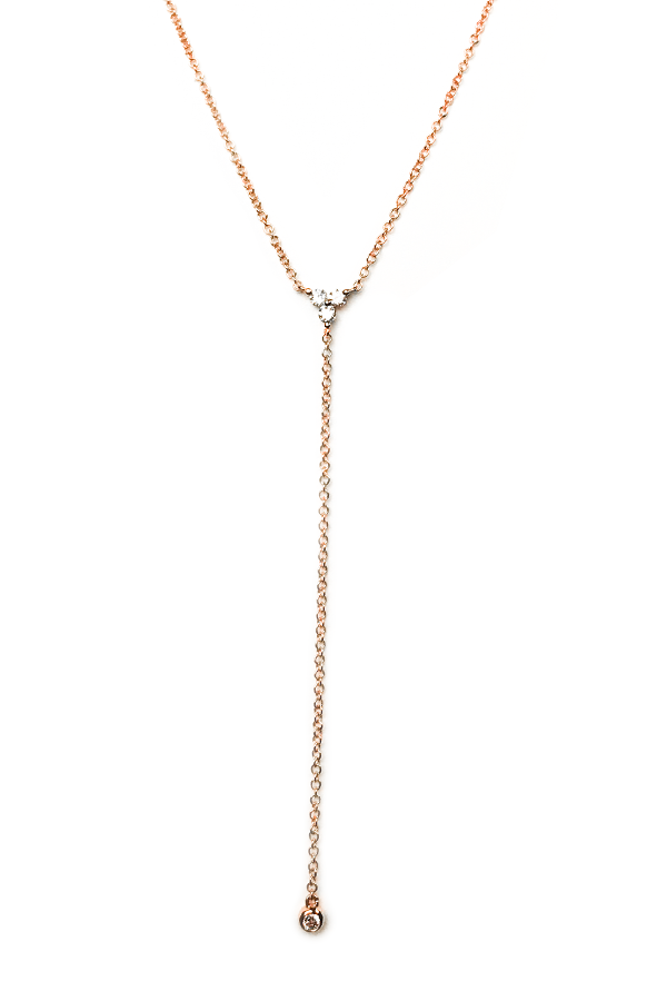 Triple Diamond Lariat Rose Gold