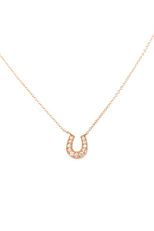 Rose Gold Diamond Horseshoe Necklace