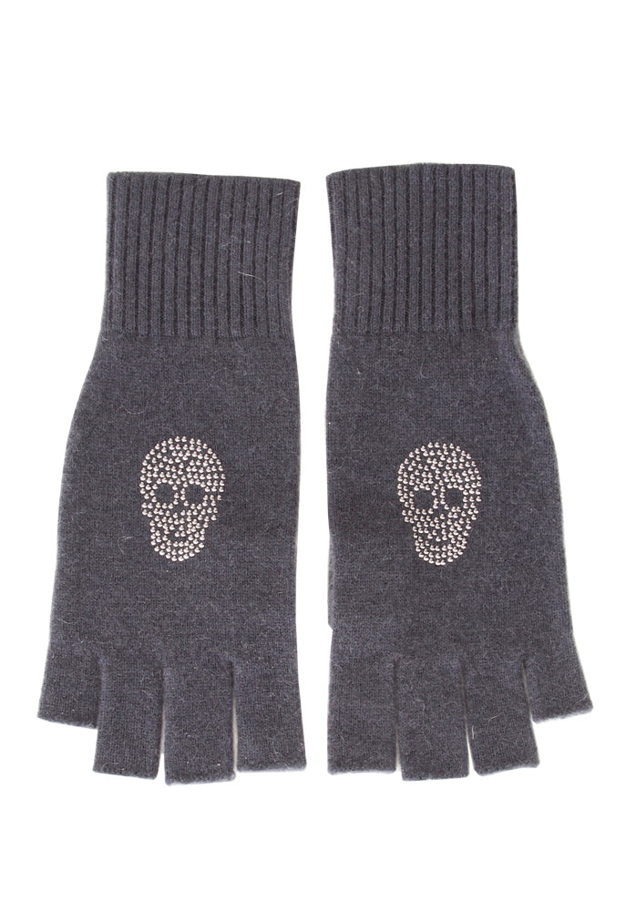 Skull Studded Fingerless Gloves
