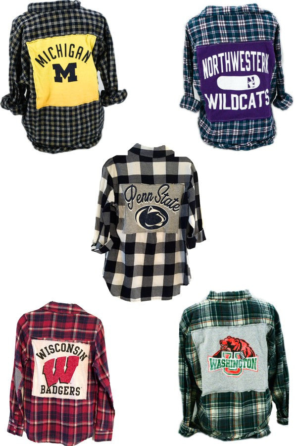 Flannel with College T-shirt Patch (Custom Your College)