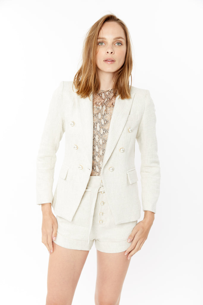 Generation Love Ivory Linen Tweed Blazer