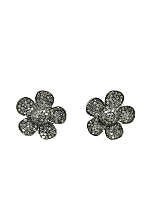 Earring Diamond Silver Studs Pave Flower Large