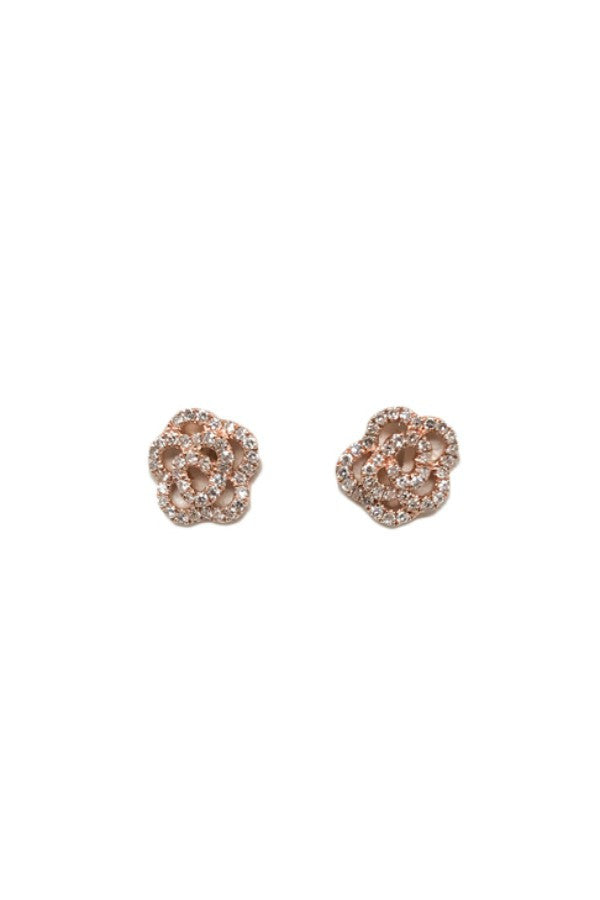 Diamond Flower Rose Gold Studs