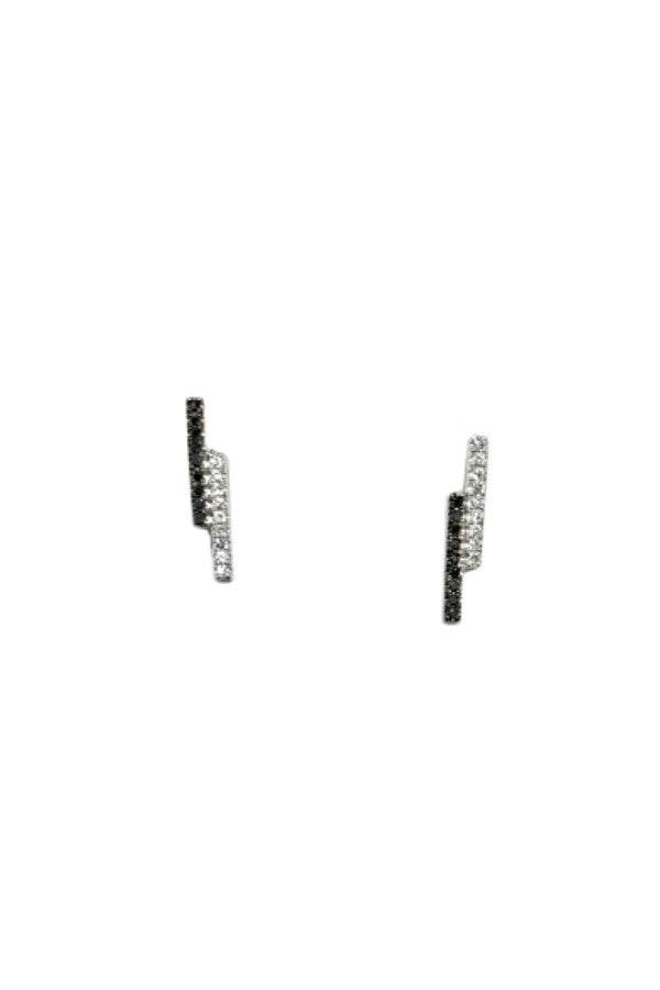 Black & White Diamond Double Bars White Gold Studs