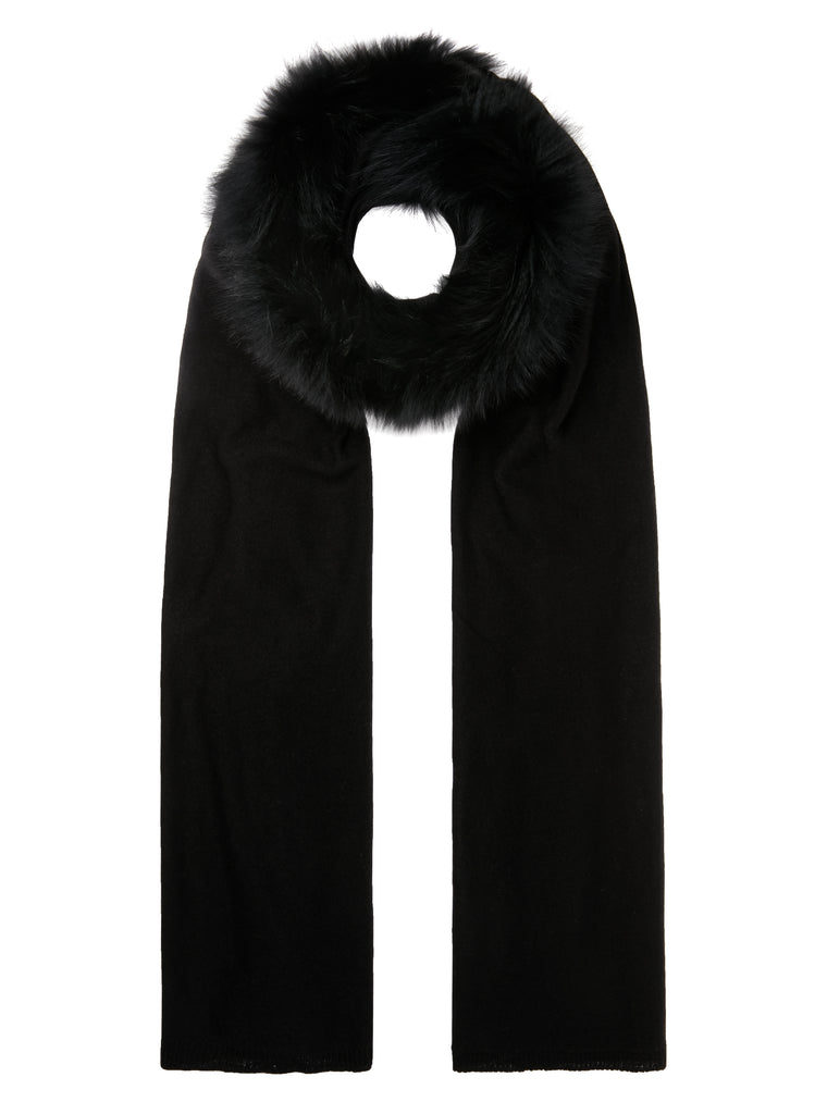 Black Wool & Fur Scarf