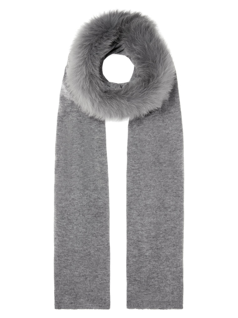 Grey Wool & Fur Scarf