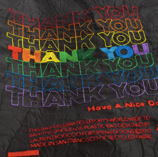 Open Editions Reusable Black Rainbow Thank You Tote