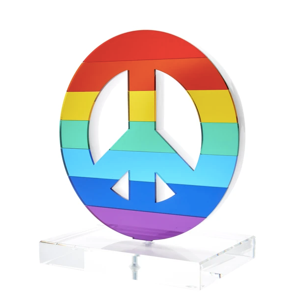 Rainbow Peace Tabletop Sculpture or Bookends