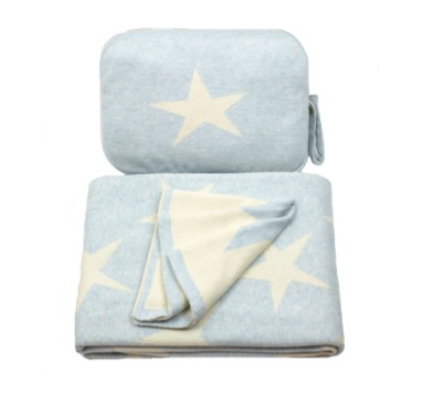 Blue Star Baby Blanket & Burp Cloth Pouch Set