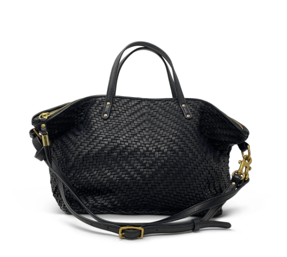 Woven Black Leather Bag