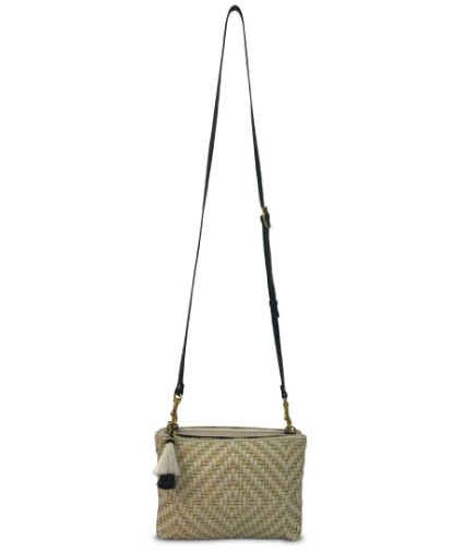 Woven Chalk/Butter Leather Crossbody
