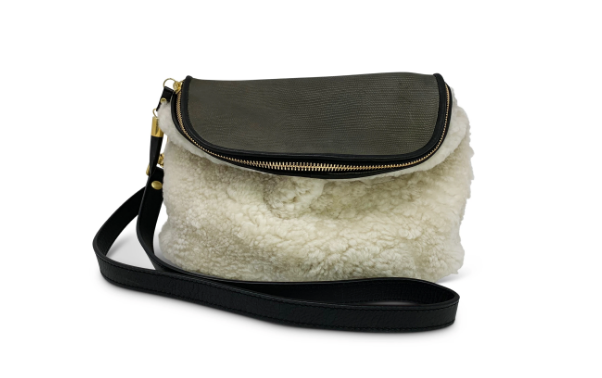 Natural Shearling/Olive Petite Lizard Crossbody
