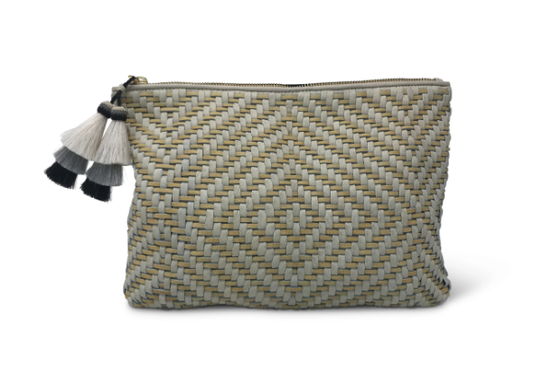 Woven Chalk/Butter Leather Clutch/Pouch