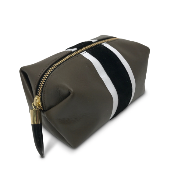 Taupe Leather Stripe Clutch/Pouch