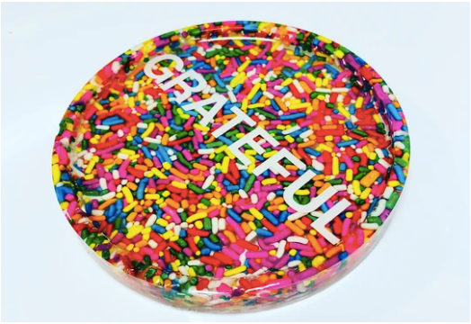 RESINatebyks Lucite Sprinkles 'Grateful' / 'Thankful' Coaster/Paperweights