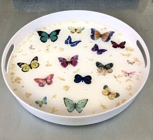 RESINatebyks Lucite Gold Leaf & Butterflies Round Tray