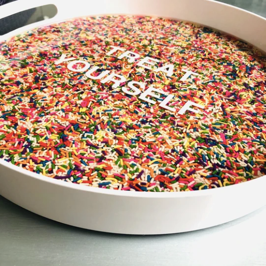 RESINatebyks Lucite Sprinkles 'Treat Yourself' Round Tray