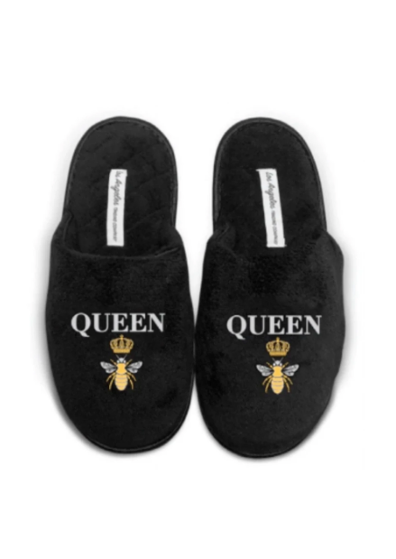LA Trading Co Black Plush Slippers Queen Bee