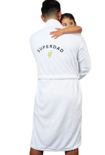 LA Trading Co White Plush Robe Superdad