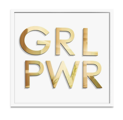 White GRL PWR Wall Sculpture