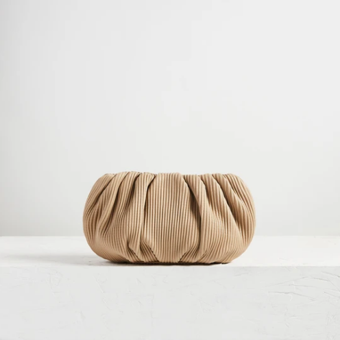 "Ling Wu Bubble 12"" Corrugated Lamb Biscuit Clutch"