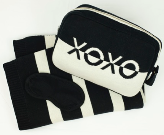 Pink Lemonade 'XOXO' Blanket, Pouch & Eye Mask Set