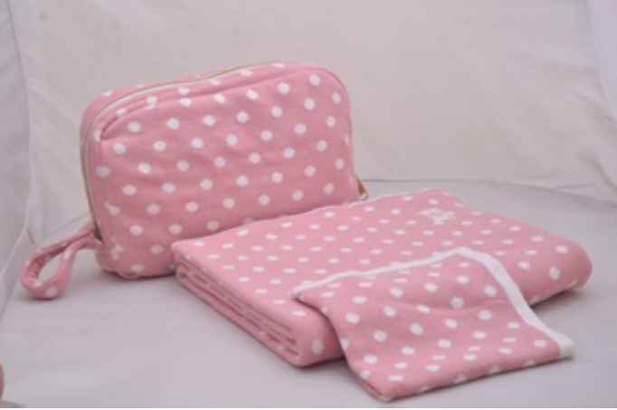 Pink Lemonade Polka Dot Baby Blanket, Pouch & Burp Cloth Set (Various Colors)