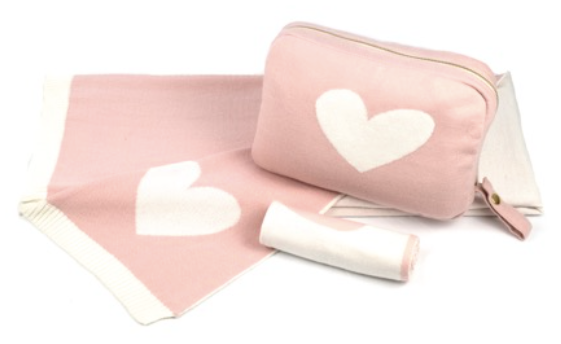 Pink Lemonade Heart Baby Blanket, Pouch and Burp Cloth Set (Various Colors)