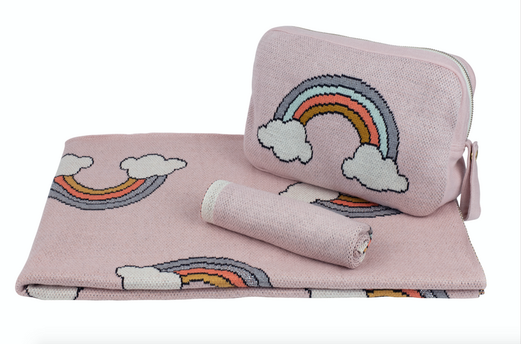 Pink Lemonade Rainbow Baby Blanket, Pouch and Burp Cloth Set (Various Colors)