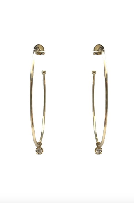 Gold Hoop Earrings with Diamond Dangle