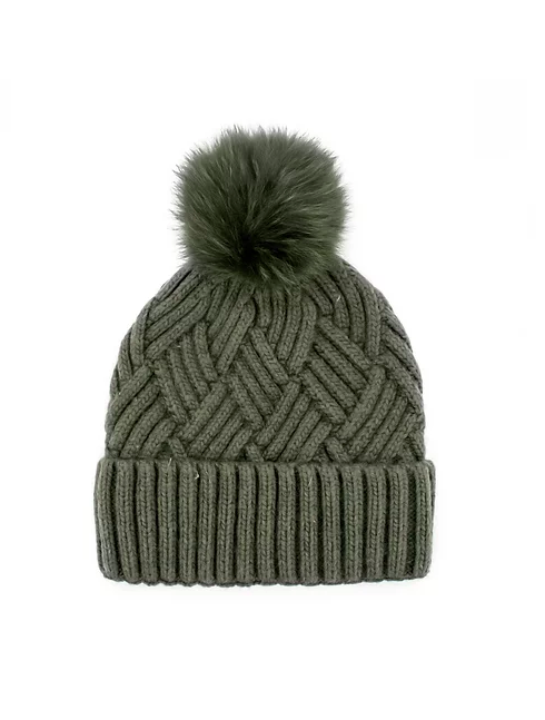 Mitchie's Hunter Green Cable Knit Pom Beanie