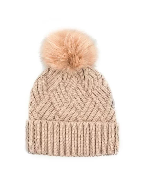 Mitchie's Dusty Pink Cable Knit Pom Beanie