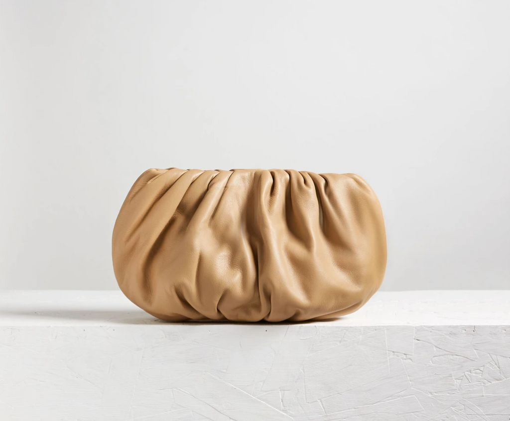 Ling Wu Bubble Mini Leather Nude Clutch