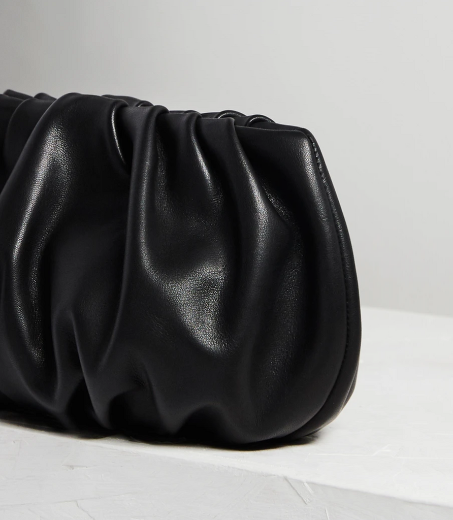 "Ling Wu Bubble 10"" Leather Black Clutch"