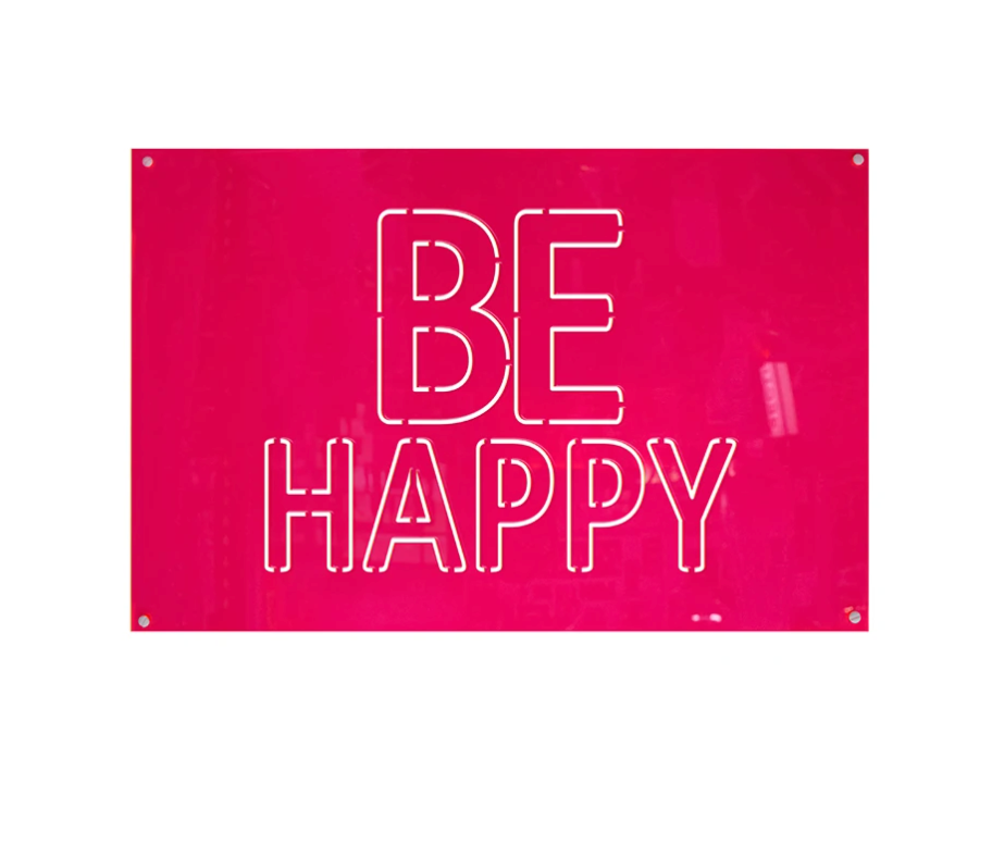 4artworks BE HAPPY Wall Sculpture (Neon Colors)
