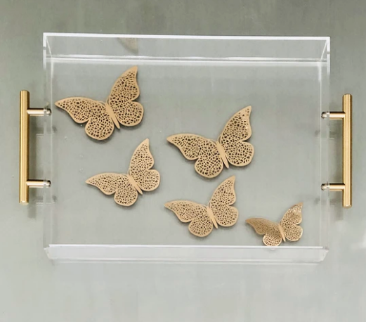 RESINatebyks Gold Butterflies Tray with Handles