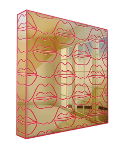 4artworks Mirrored Pink/Black Cursive Lips Wall Sculpture Decor (Various Colors)
