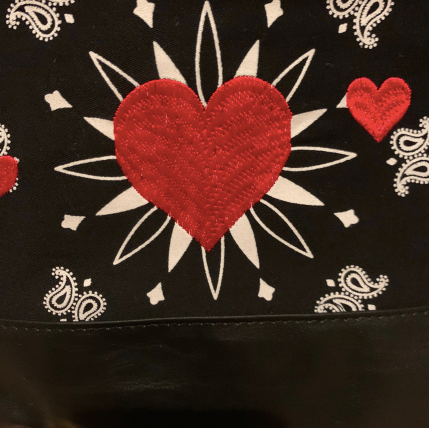 Virginia Wolf Black Bandana Heart Pouch