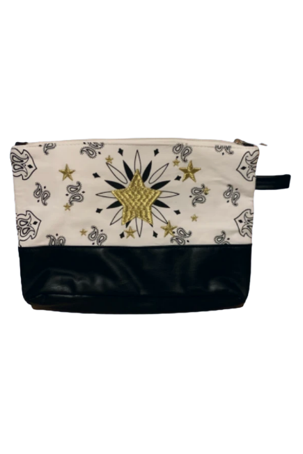 Virginia Wolf White Bandana Star Pouch