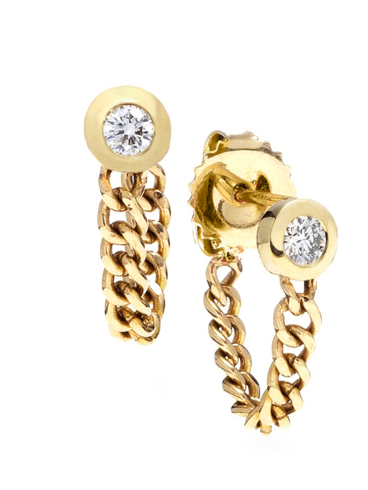 Diamond & Gold Chain Hug Earrings