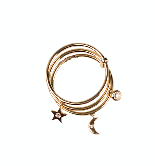 Charm Ring Moon, Star & Diamond