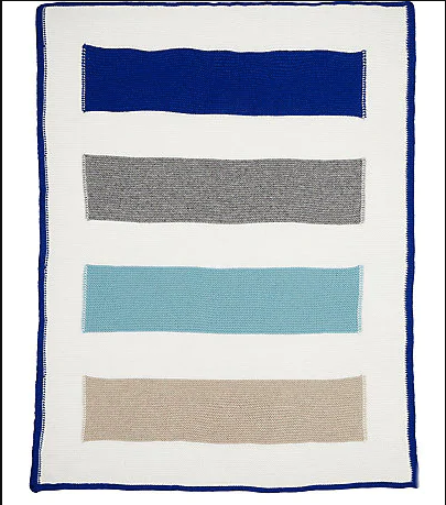Rani Arabella 100% Cashmere Baby Striped Blanket Blue