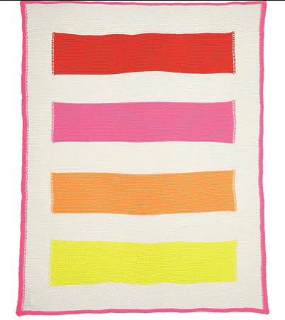100% Cashmere Baby Striped Blanket Pink