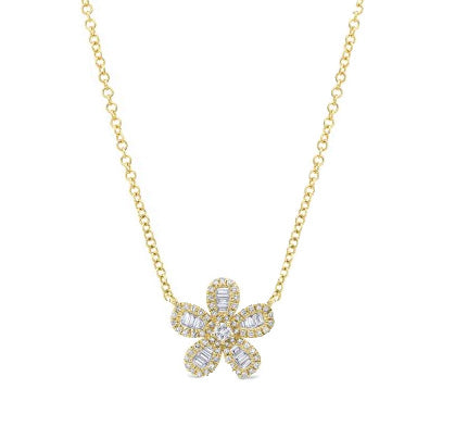 Yellow Gold Diamond Baguette Flower Necklace