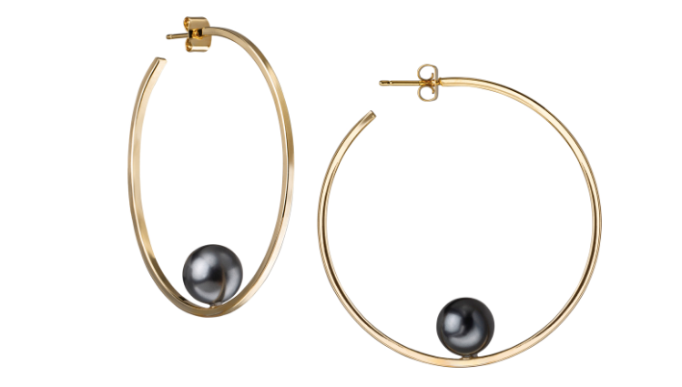 Gold Hoops with Black Pearl Earring