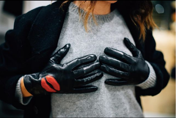 Leather Gloves with Lip