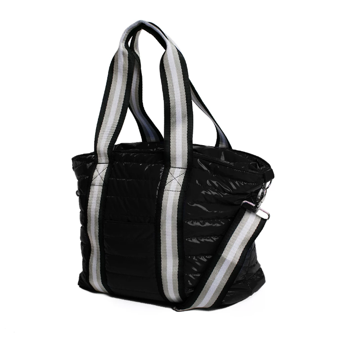 Black Patent Nylon Junior Tote