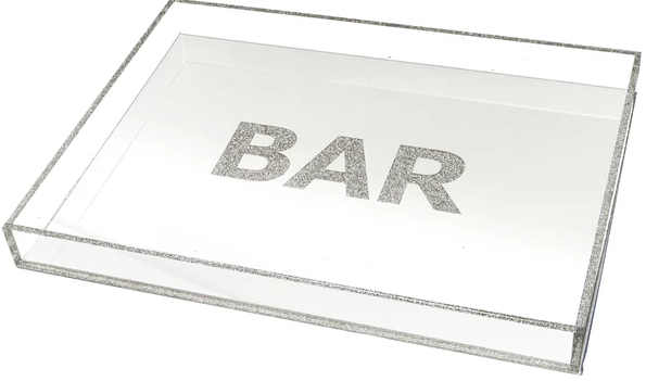 Bar Large Lucite Tray (White/Silver or Black/Silver)