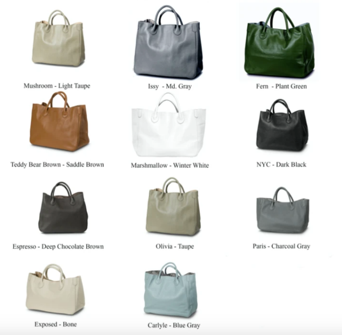 Classic Leather Tote 'Classic' Colors (3 Sizes)