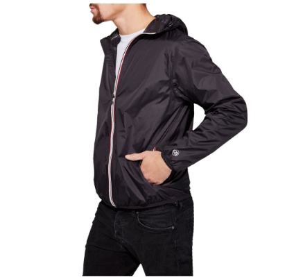 O8 Lifestyle Men's Black Full Zip Packable Jacket